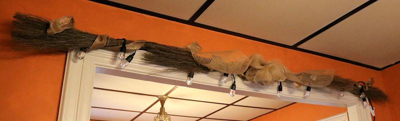 Fall Cinnamon Broom Garland adding Ribbon