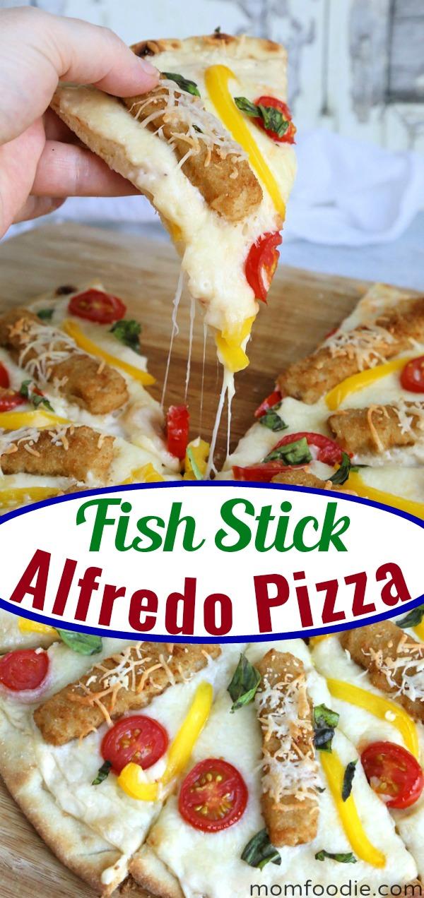 Fish Stick Alfredo Pizza