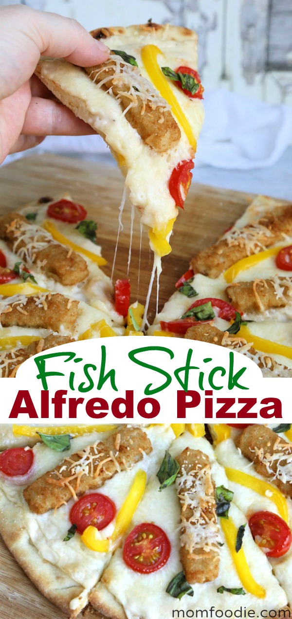 Fish Stick Alfredo pizza
