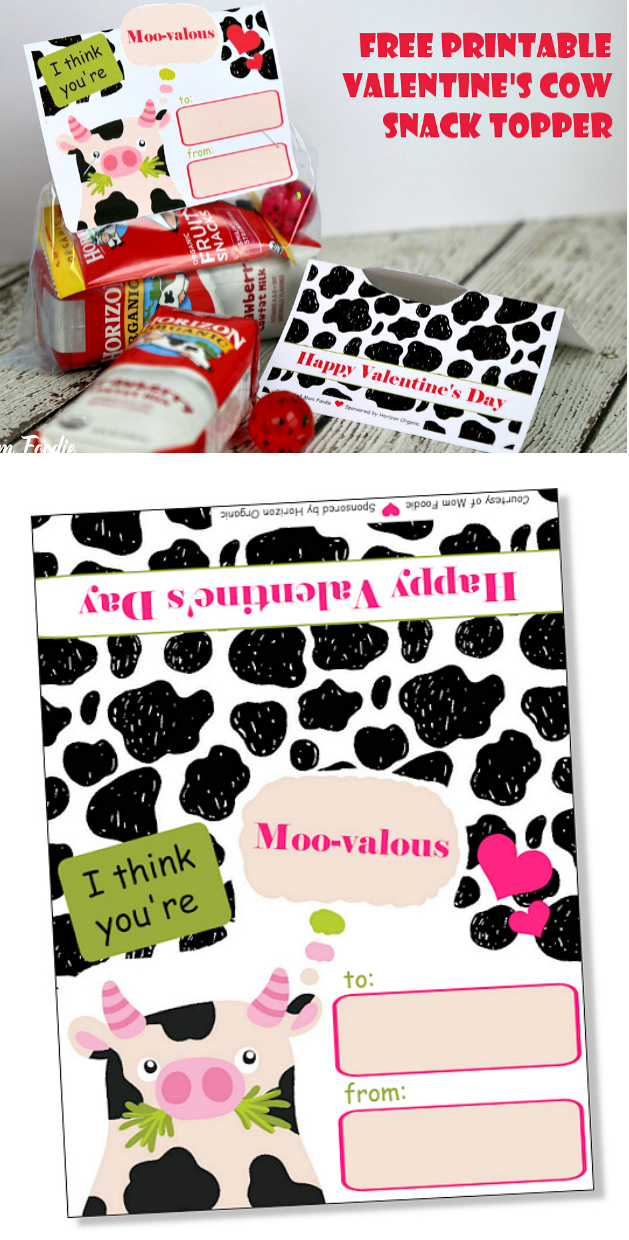 Free Printable Cow Valentine Card Topper