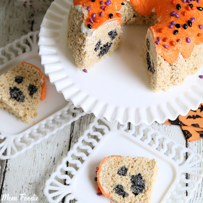 Ghost Inside Halloween Rice Krispies Bundt Cake