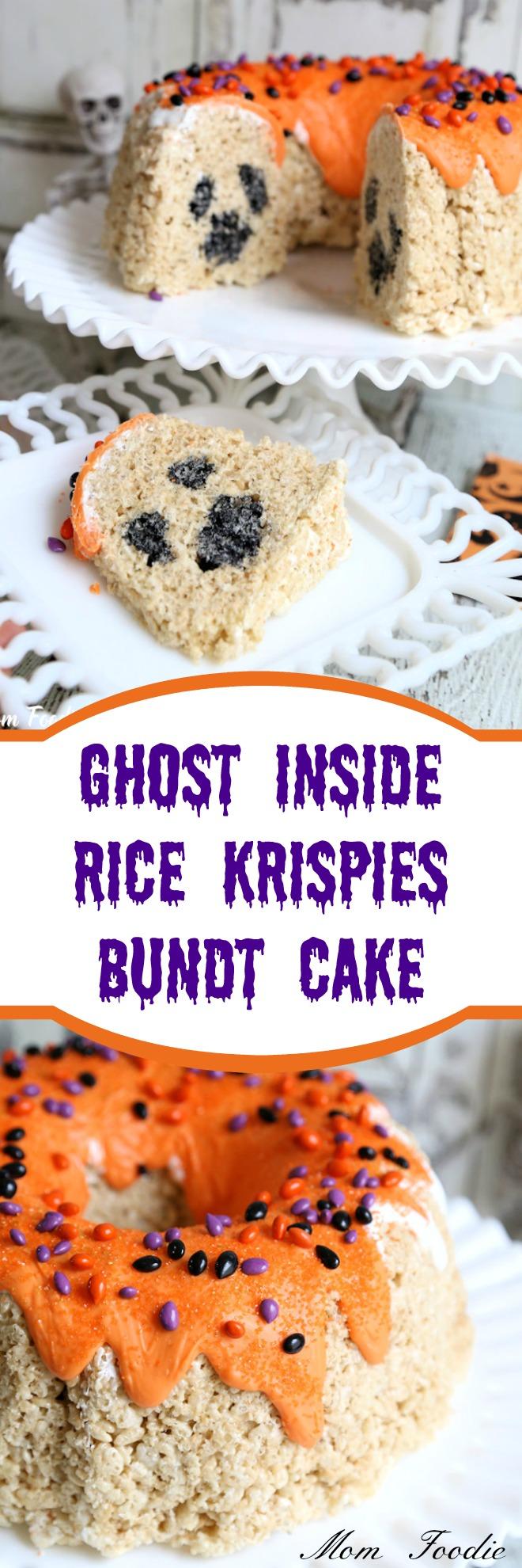 Ghost Inside Rice Krispies Bundt Cake