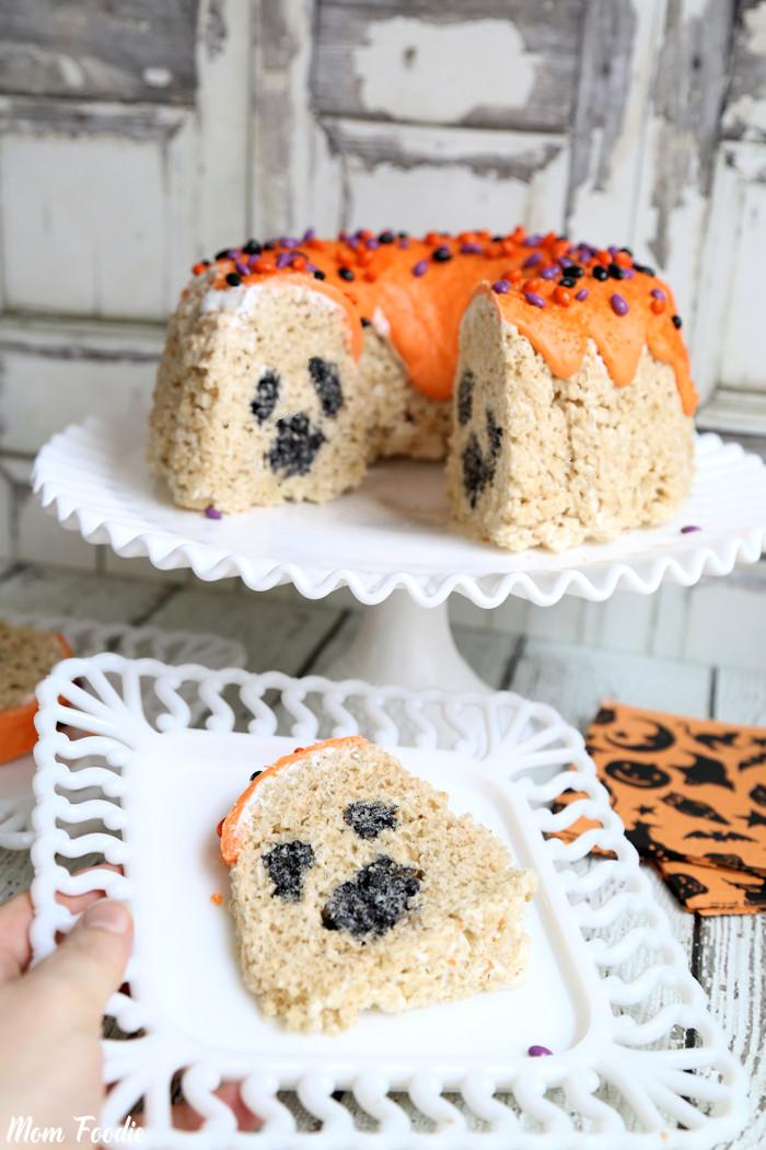 Ghost Rice Krispies Bundt Cake