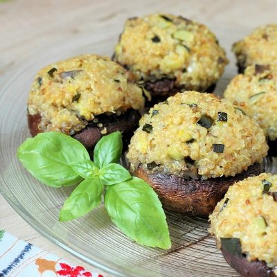 Gluten Free Stuffed Mushrooms with Zucchini Quinoa Stuffing