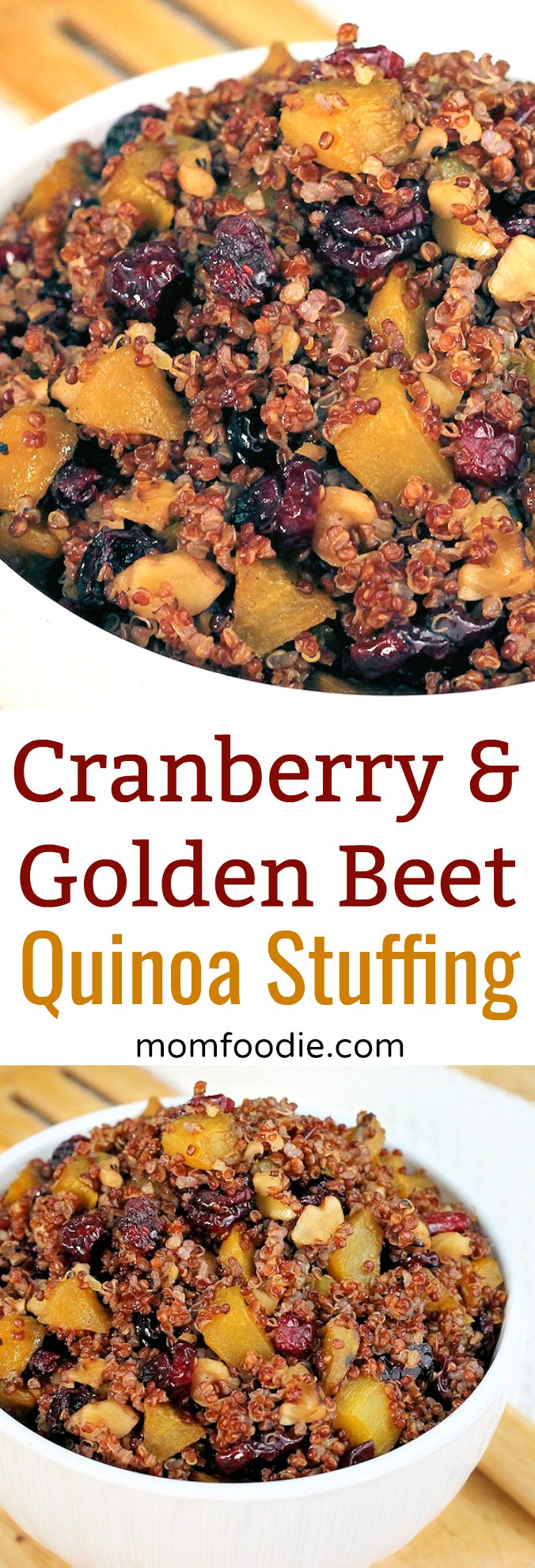 Golden Beet and Cranberry Quinoa Stuffing Recipe, gluten free