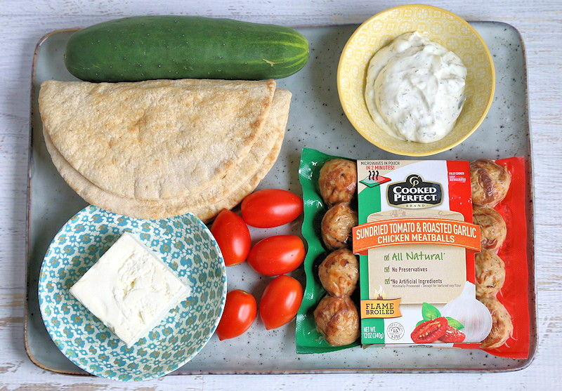 Greek Meatball Pita ingredients