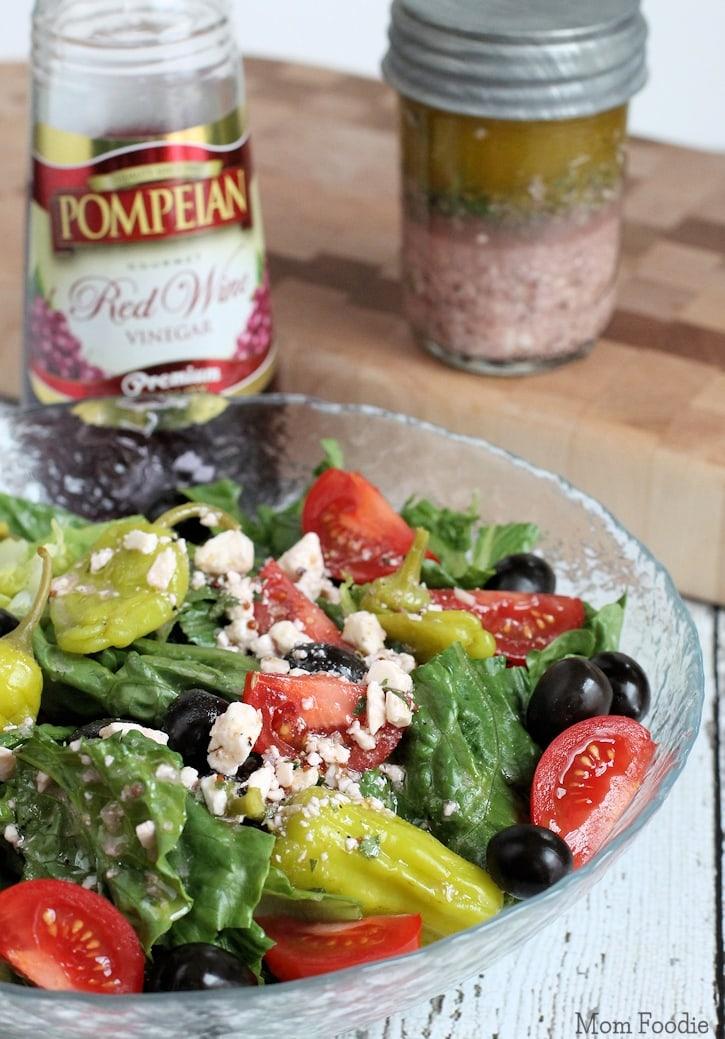 Greek Salad With Red Wine Vinegar Dressing