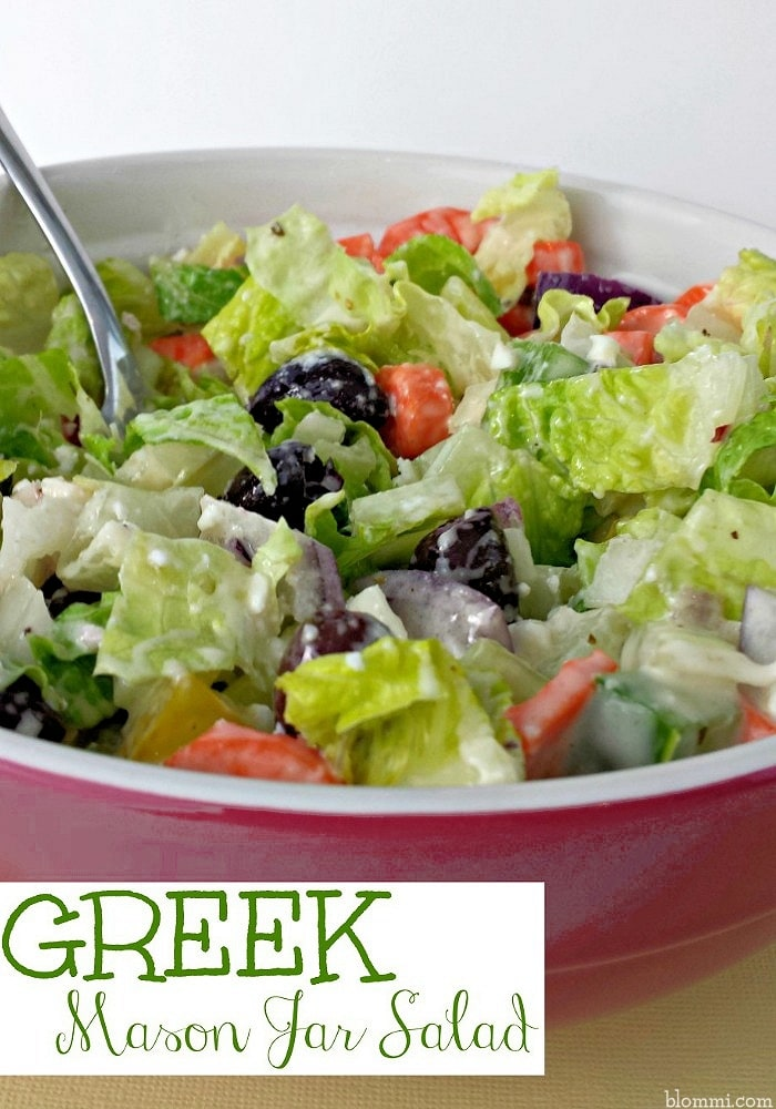 Greek Salad dumped out of Jar