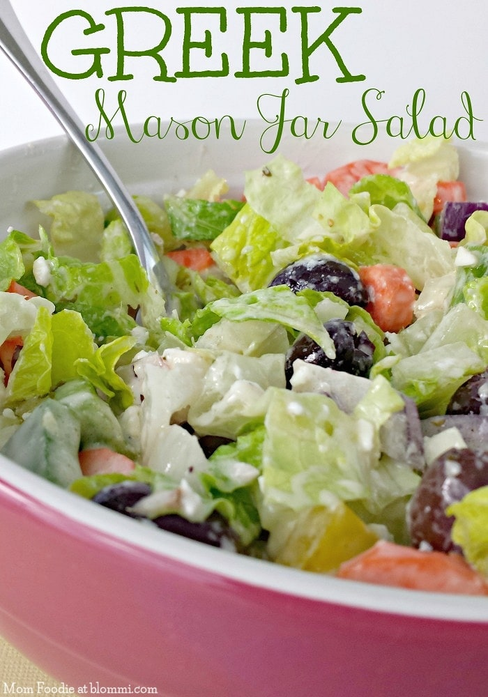 Greek Salad in Mason Jar how to serve