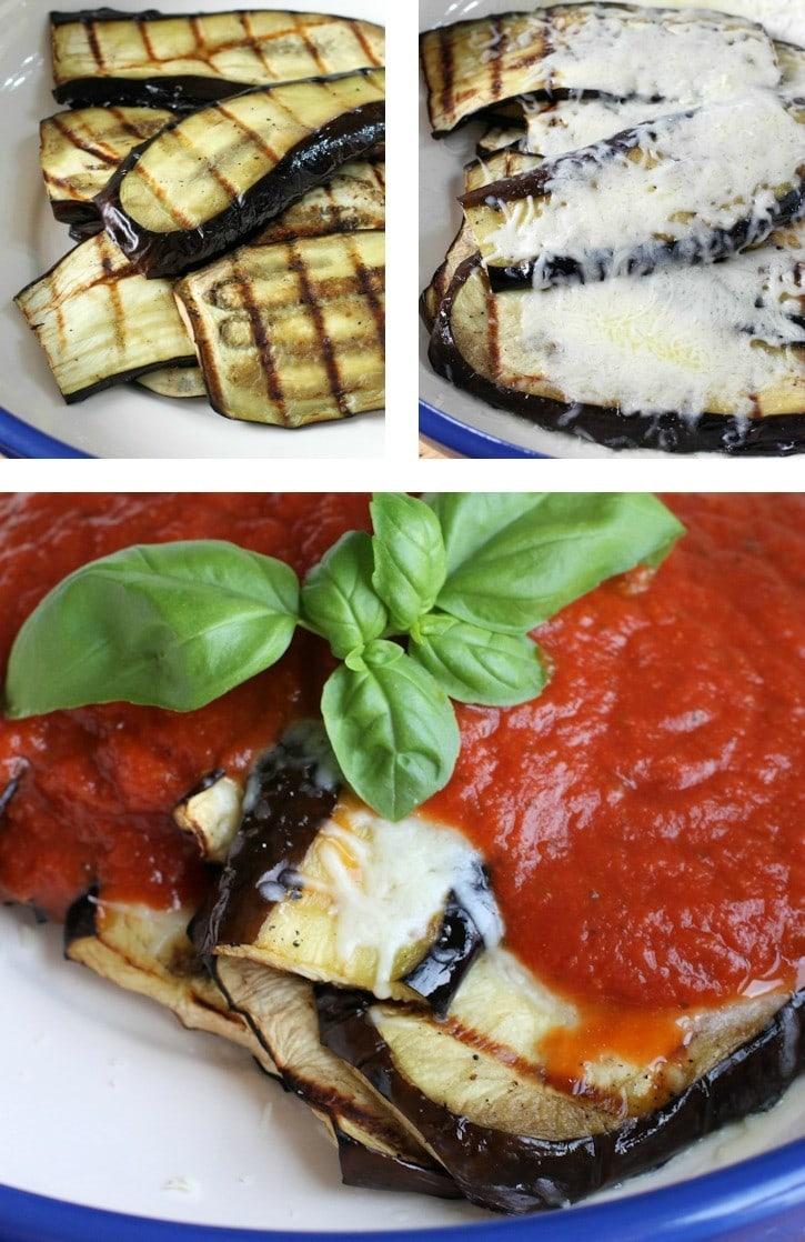 making parmesan grilled eggplant collage.