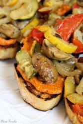 Grilled Tomato Ricotta Pesto Vegetable Bruschetta