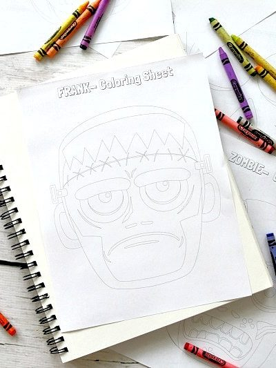 6 Free Printable Halloween Character Coloring Pages: Skull, Mummy, Zombie, Vampire, Frankenstein and Jack-o-Lantern