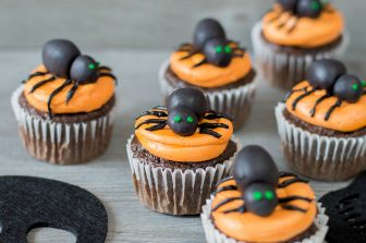 Halloween Cupcakes with Edible Spider Toppers