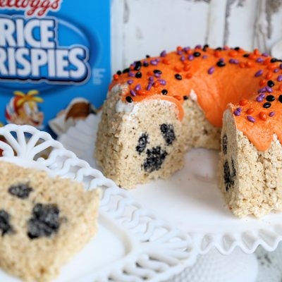 Spooky Surprise Inside! Halloween Rice Krispies Bundt Cake