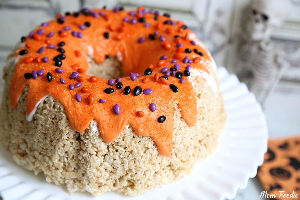Halloween Rice Krispies Bundt Cake