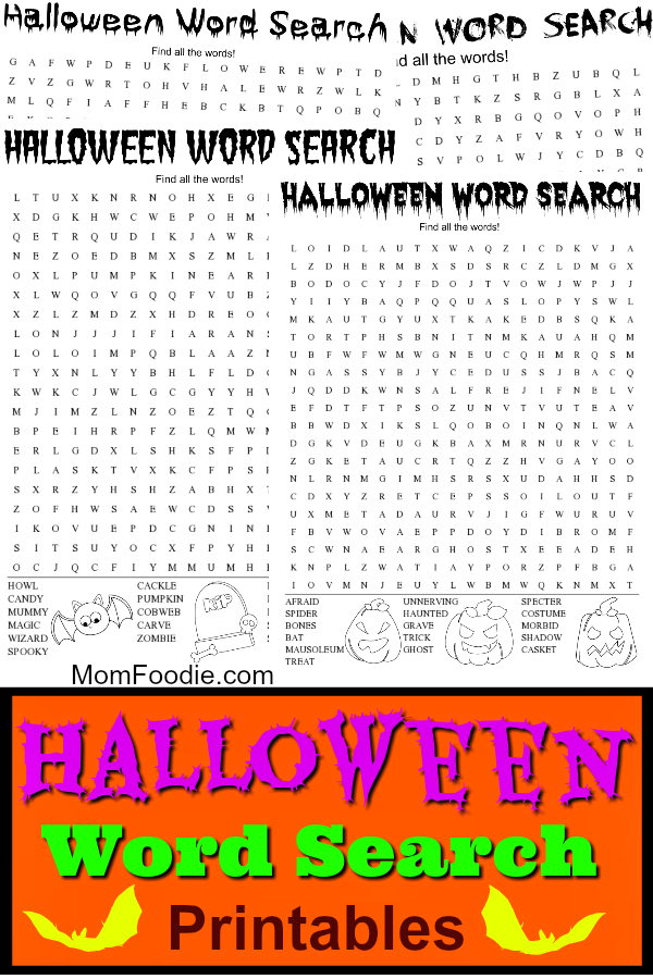 image about Halloween Word Search Puzzle Printable referred to as 5 Totally free Halloween Phrase Glimpse Printables - Mother Foodie