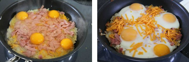 eggs added to skillet then cheese added after eggs are par-cooked