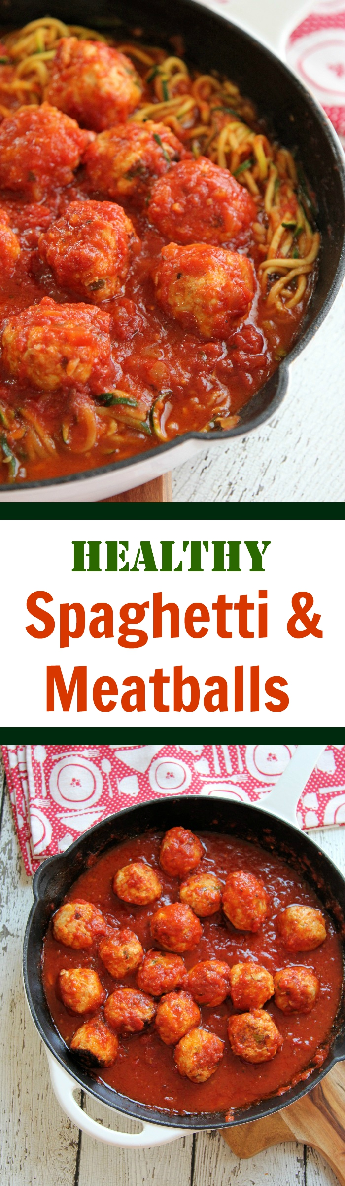 Healthy Spaghetti & Meatballs: gluten-free, grain-free, low-carb, low-cal, low-fat