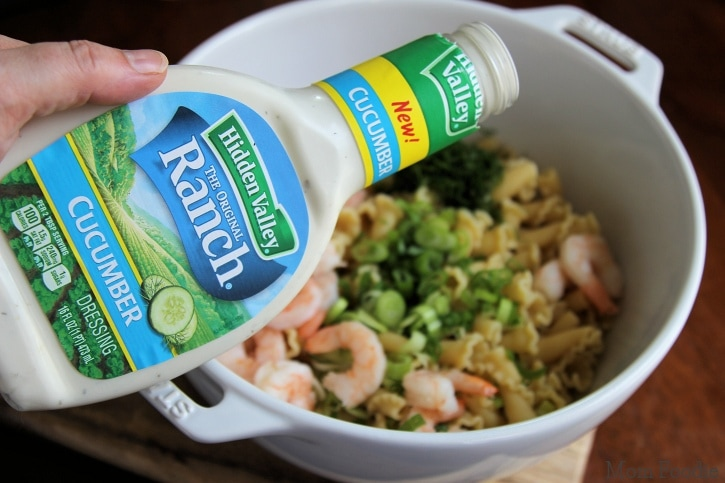 Hidden Valley Cucumber Ranch Dressing in pasta salad