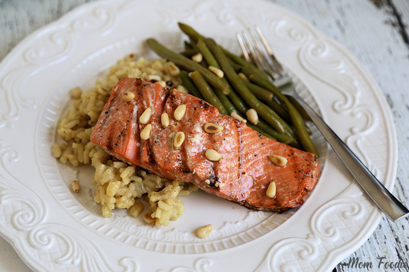 Honey Ginger Balsamic Grilled Wild Salmon with Toasted Pine Nuts