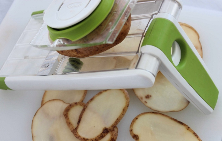 How to Make Kettle Chips slicing potatoes