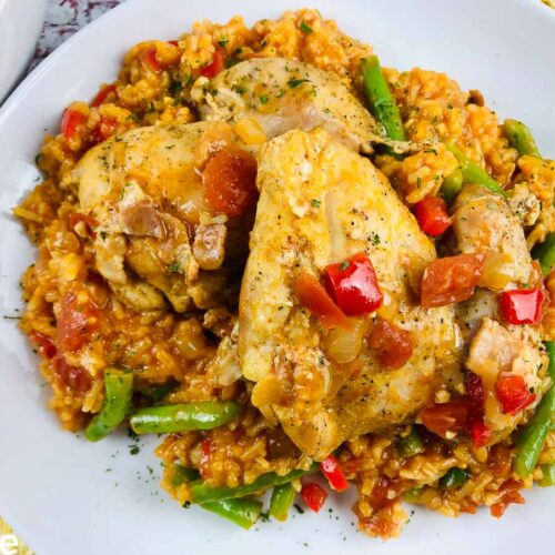 Paprika Chicken Slow Cooker Recipe served in white bowl.