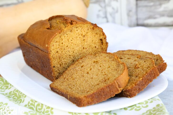 Butternut Squash Bread sliced on plate