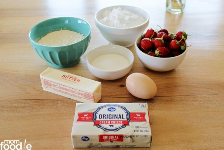 Ingredients for baked donuts and glaze