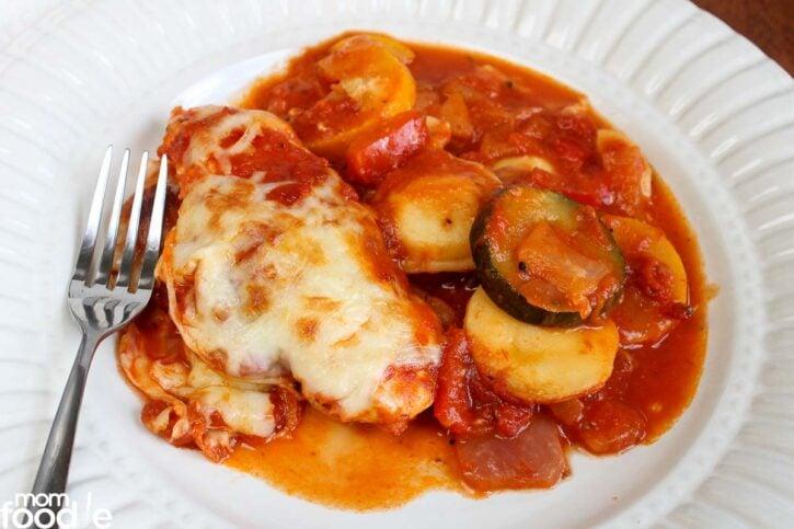 Italian Chicken & Veggie Ravioli Bake