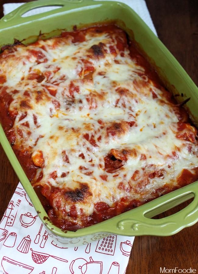 Italian Chicken Ravioli Bake in casserole dish
