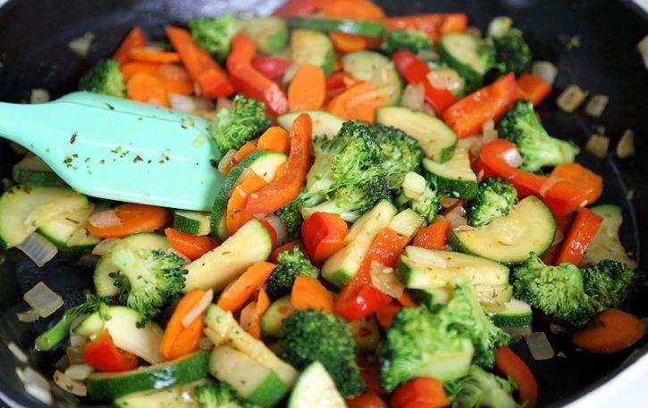 sauteed vegetable stir fry in pan