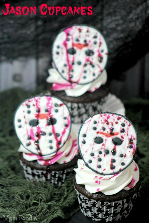 Friday the 13th jason mask cupcakes halloween party food for How to make halloween cupcakes from scratch