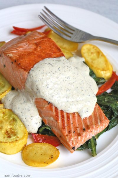Keto Salmon with Greek Yogurt Cream Sauce, Squash, Peppers and Dandelion