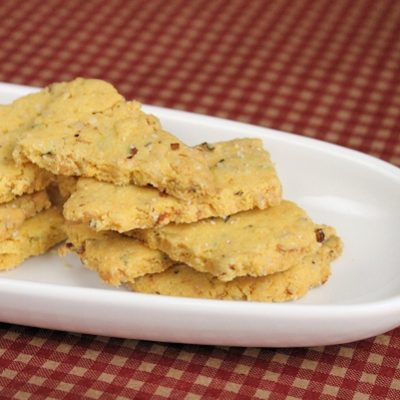 Lemon-Walnut Savory Cornmeal Shortbread Crackers