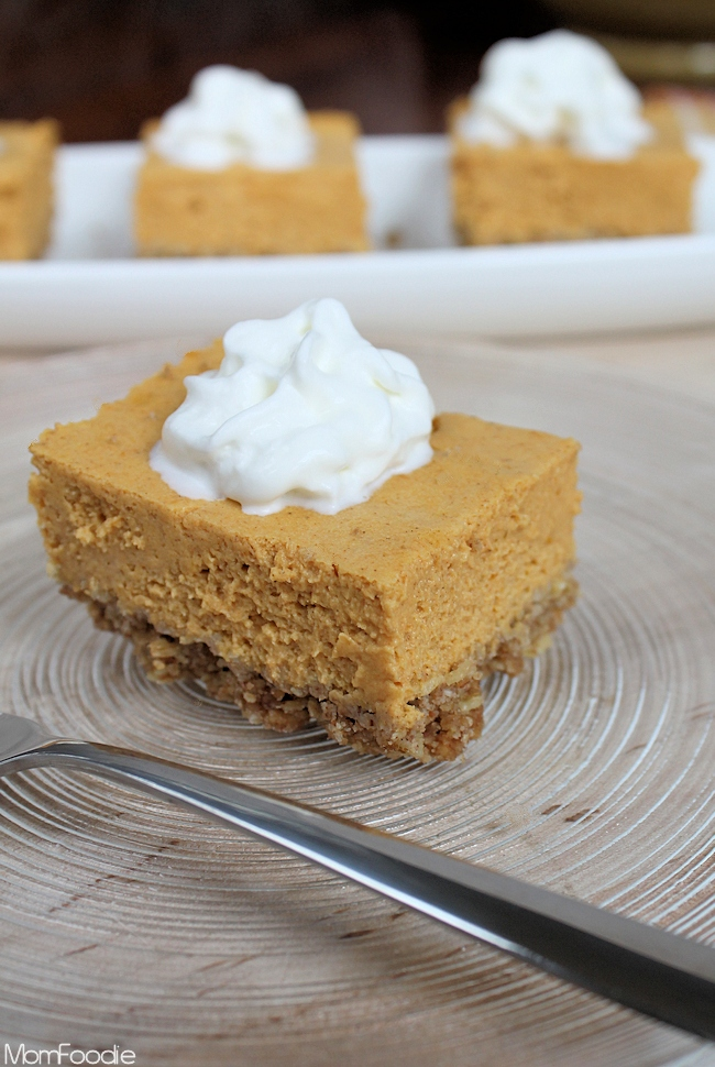 Light pumpkin cheesecake bars recipe a diet friendly fall dessert save 486 from 7 votes light pumpkin cheesecake bars aloadofball