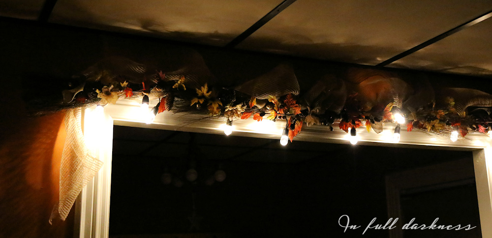 Lighted Fall Garland at night