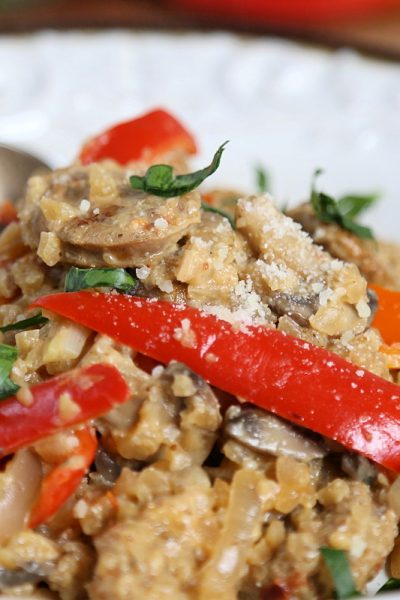 Low Carb Chicken Sausage Risotto Recipe with Mushrooms and Peppers
