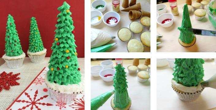 Making Christmas Tree Cupcakes
