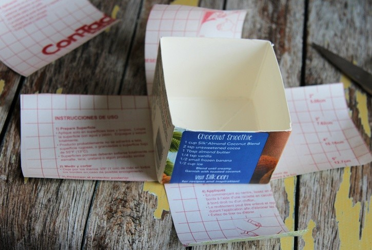 Making milk carton into decorative box