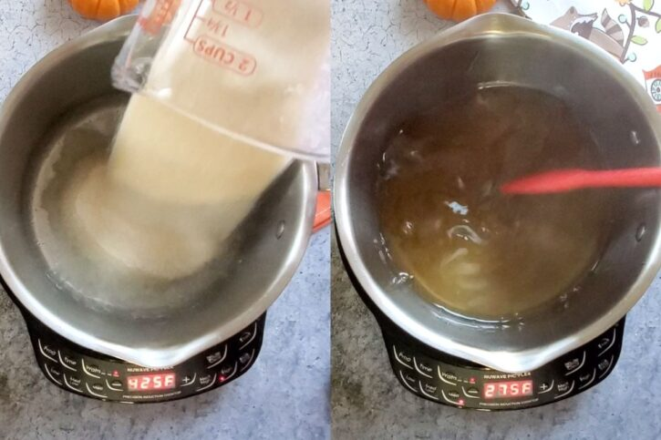 Making the rich simple syrup.