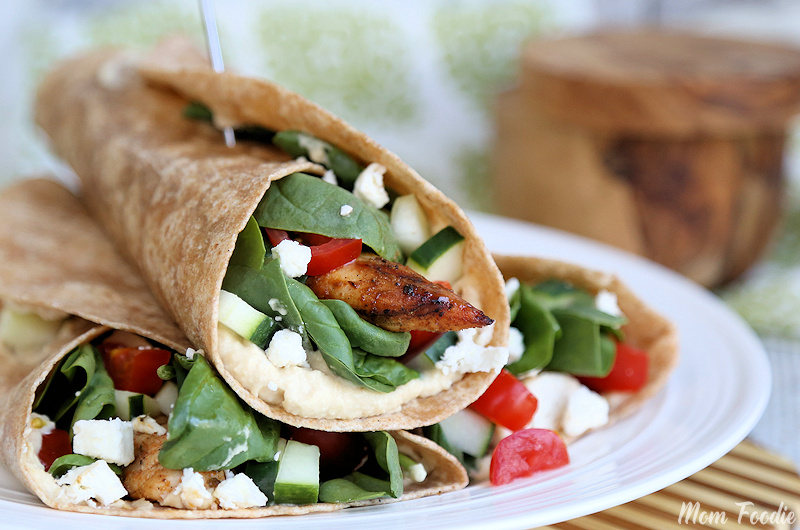 Mediterranean Grilled Chicken Wrap on plate