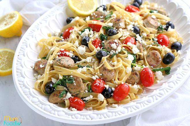 Mediterranean Pasta with Chicken Sausage