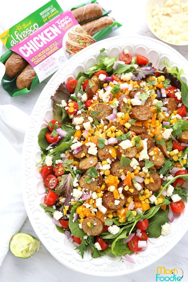Mexican Chicken Sausage Corn Salad