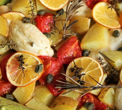 Baked Meyer Lemon, Chicken & Potatoes