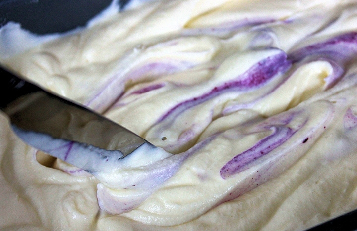Mixing Blueberry Cheesecake Ice Cream