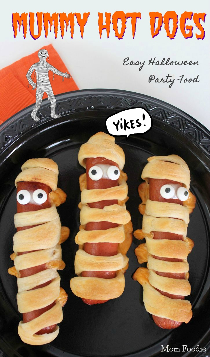 Mummy Hot Dogs Recipe- Easy Halloween Party Food - Mom Foodie