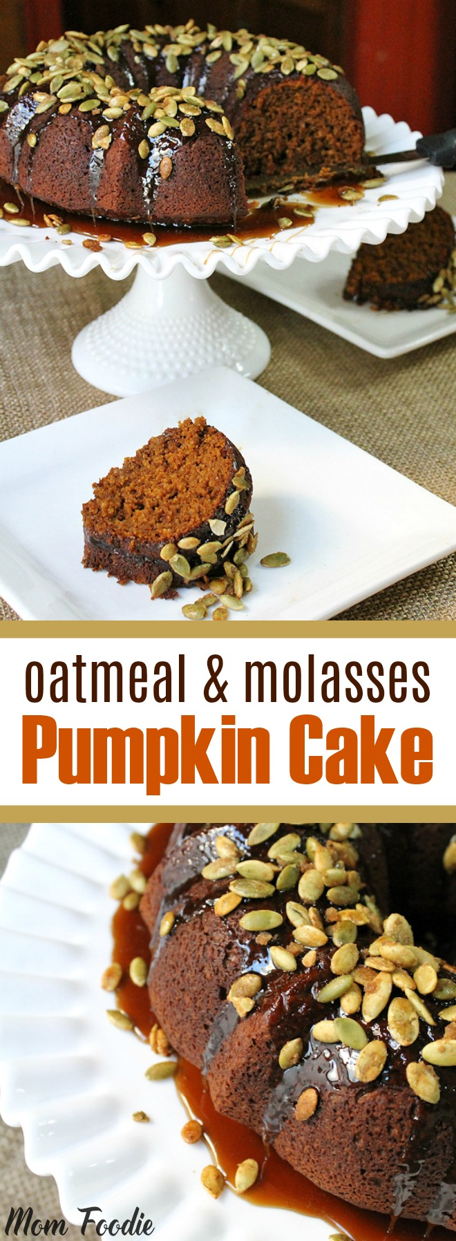 Oatmeal & Molasses Pumpkin Cake with Caramel Glaze and Candied Pumpkin Seed Topping