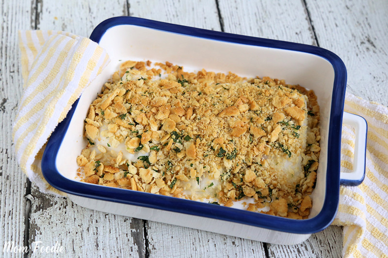 Oven Baked Cod with Cracker Topping in casserole dish