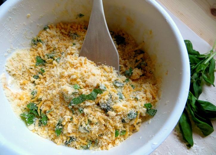 Parmesan Cheddar Basil Stars - mixing