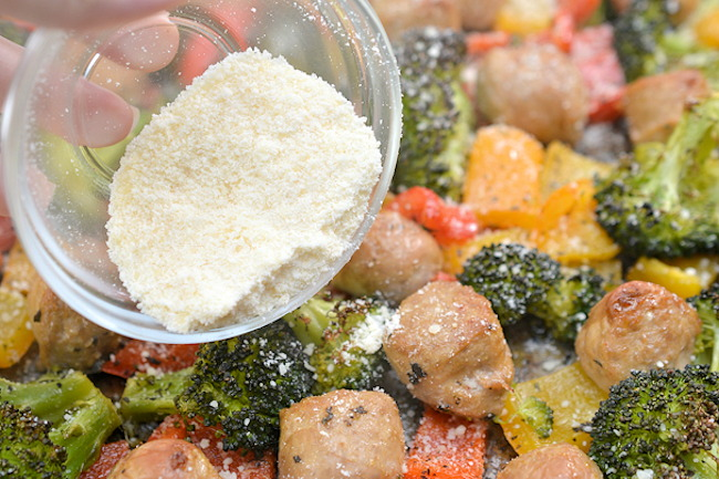 Parmesan cheese sausage veggies